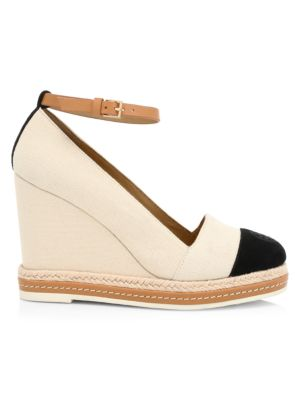 Cap-Toe Leather-Trimmed Espadrille Wedges