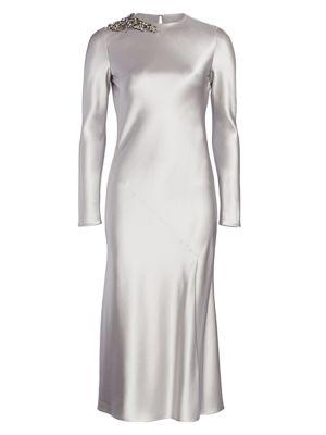Embellished Satin Cocktail Dress