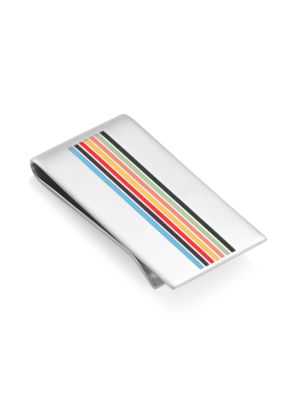 Sterling Silver Multicolor Stripe Money Clip