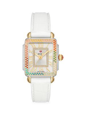 Deco Madison Mid Carousel Two-Tone, Multicolor Topaz & Silicone Strap Watch