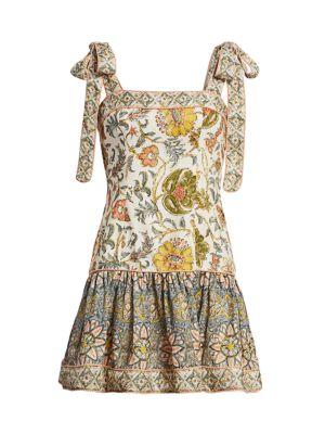 Edie Tie-Shoulder Mini Flare Dress