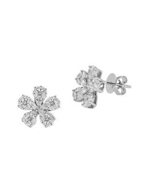 Mosaic 18K White Gold & Diamond Flower Stud Earrings