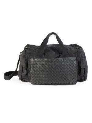 Intrecciato Leather & Nylon Packable Duffel Bag
