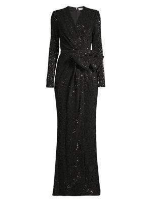 Mona Sequin Wrap Gown