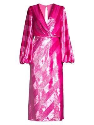 Maison Metallic Plunge Midi Dress