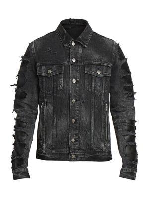 Distressed Denim Mix Jacket