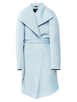 Laila Leather-Trim Wool Coat