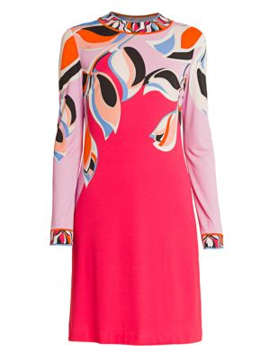 Heliconia-Print Silk Jersey Dress