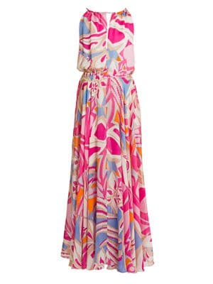 Silk Chiffon Halter Maxi Dress