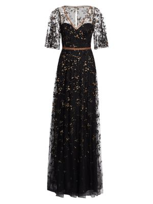 Illusion Elbow-Sleeve Embroidery Gown