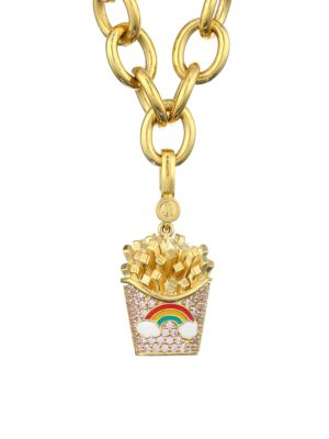 14K Goldplated Sterling Silver & Enamel Rainbow French Fry Charm