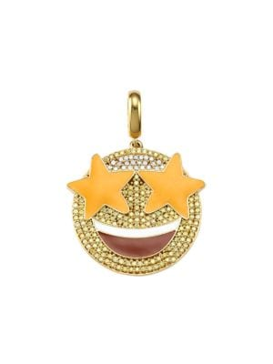 14K Goldplated Sterling Silver & Cubic Zirconia Starry Eyed Emoji Charm
