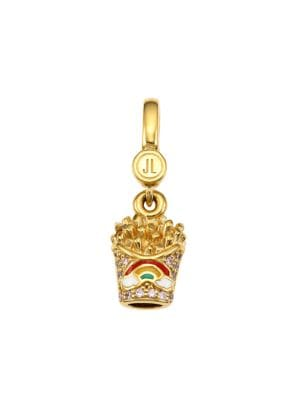 14K Goldplated Sterling Silver, Enamel & Cubic Zirconia French Fry Cone Charm
