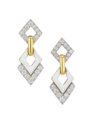 Motif 18K Yellow Gold, Platinum, White Enamel & Double Diamond Interlocking Earrings