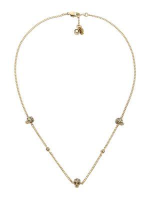 Crystal Skull Goldtone Station Necklace
