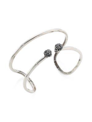 Double-Wrap Crystal Skull Cuff Bracelet