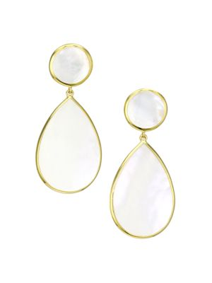 Polished Rock Candy® 18K Yellow Gold & Mother-Of-Pearl Double-Drop Clip-On Earrings