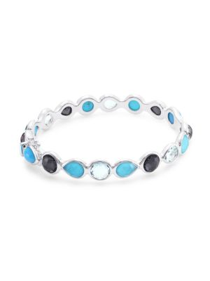 Rock Candy® Sterling Silver & Multi-Stone All-Around Hinged Bangle