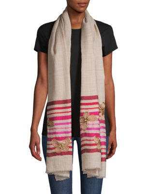 Butterflies on Stripes Wool & Silk Scarf