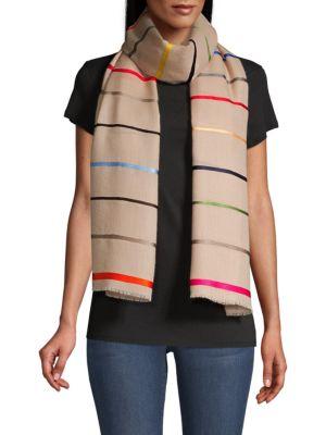 Colorful Horizon Striped Cashmere Scarf
