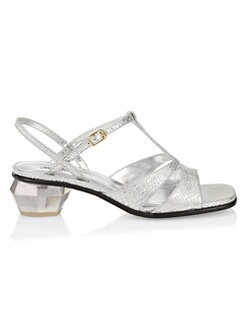 Marc Jacobs The Gem Snakeskin-Embossed Metallic Leather T-Strap Sandals