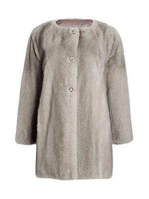 Zac Posen For The Fur Salon Collarless Crystal-Embellished Mink Coat