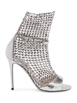 Galaxia Crystal Mesh Metallic Snakeskin Sandals