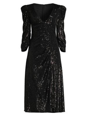 Kayla Sequin Ruched V-Neck Dress