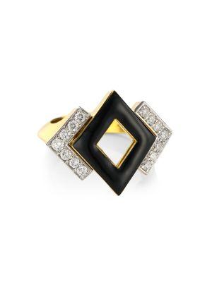 Motif 18K Yellow Gold, Black Enamel & Double Diamond Ring