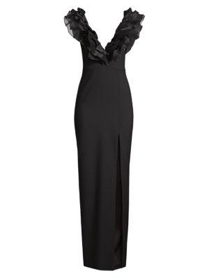 Kelayan Ruffled Plunging Gown