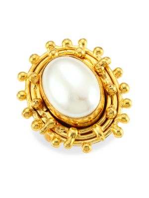 Stone Dots 22K Yellow Goldplated & Oval Cultured Freshwater Pearl Ring
