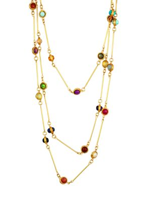 Candies 22K Yellow Goldplated & Multi-Stone Layered Necklace