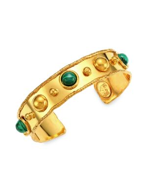 Stone Massaï 22K Yellow Goldplated & Malachite Cuff