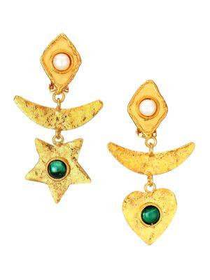 Honeymoon 22K Goldplated, Malachite & Pearl Mismatched Clip-On Drop Earrings