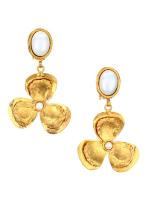 Lucky Flower 22K Goldplated & Pearl Drop Clip-On Earrings