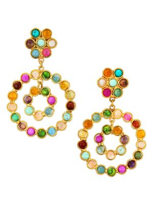 Flower Candies 22K Goldplated & Multi-Stone Clip-On Drop Earrings