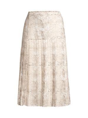 Rovena Mixed Animal Print Pleated Midi Skirt