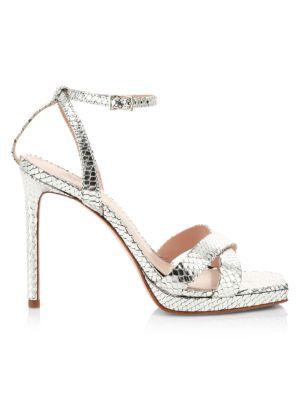Ava Rose Snakeskin-Embossed Metallic Leather Platform Sandals