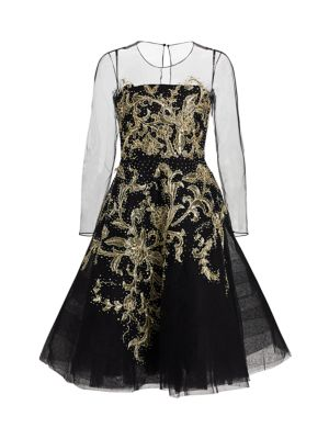 Andriana Embroidered Illusion-Sleeve Cocktail Dress