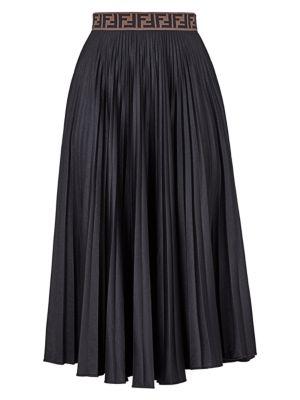 Techno Jersey Pleated Midi Skirt