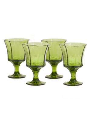 Pressed-Glass 4-Piece Water Glass Set
