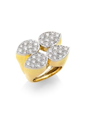 57th Street 18K Yellow Gold, Platinum & Diamond Quadrant Ellipse Ring