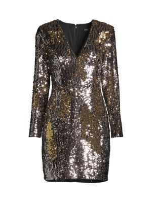 Long-Sleeve Sequin Cocktail Dress