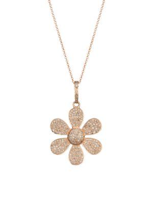 14K Rose Gold & Diamond Pave Flower Pendant Necklace