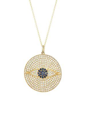 14K Yellow Gold, Diamond Pavé & Sapphire Evil Eye Medallion Necklace