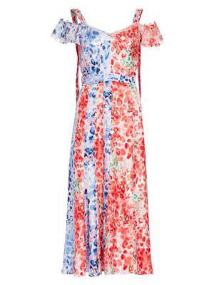 Paneled Cold-Shoulder Silk Dress