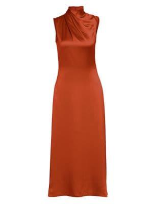 Wrapped Highneck Sleeveless Satin Dress