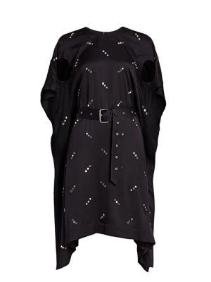 Antonina Studded Mulberry Silk Handkerchief Dress
