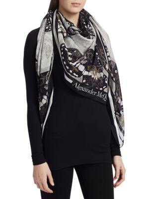 Pareo Tattoo Butterfly Silk-Blend Scarf