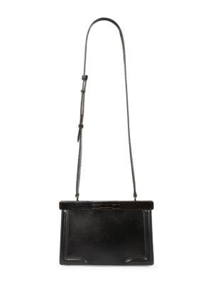 Cecile Snakeskin-Embossed Leather Crossbody Bag